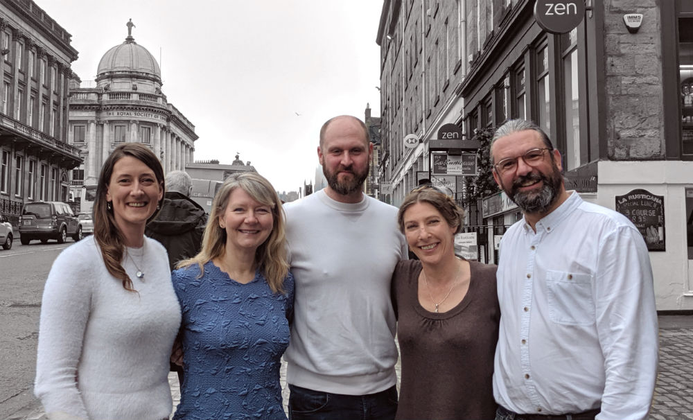 Edinburgh solopreneurs (l-r): Clairey Colston, Liza Horan, David Thomas Wright, Rose Strang, and Adam Brewster.