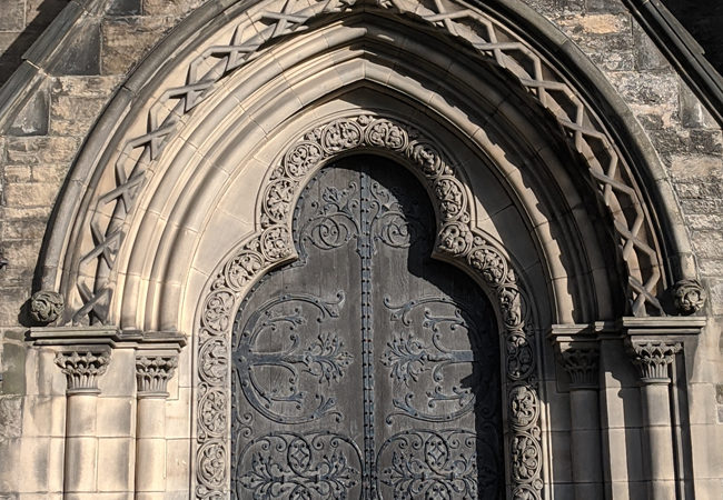 The doors of St. Mary's Cathedral, Edinburgh, Scotland