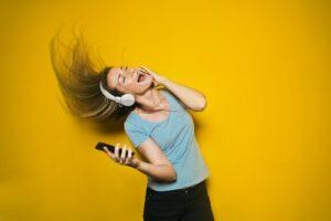 woman joyfully jamming