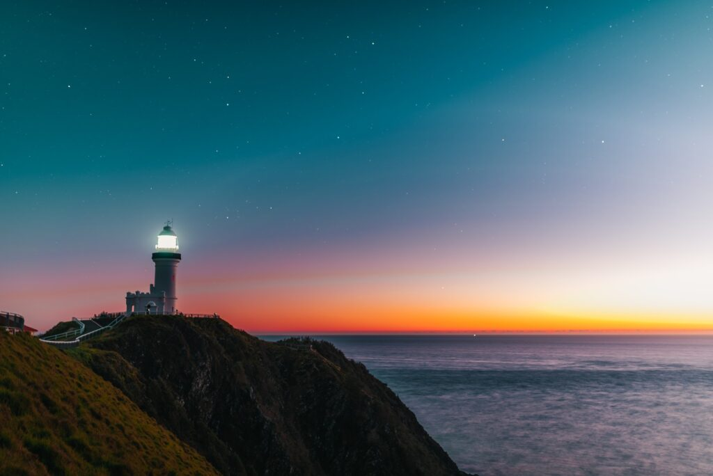hope lighthouse beacon at dawn