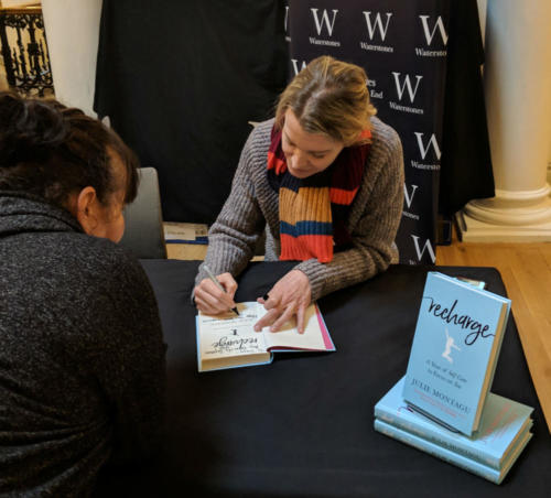 """Yoga star Julie Montagu signed copies of her fourth book, """"Recharge."""""""